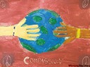"Art work by Sophie George, a student at St. John Brebeuf School. The painting will be part of the exhibit called ""Art of Compassion"" at the Canadian Mennonite University.  Brenda Suderman story.     (WAYNE GLOWACKI/WINNIPEG FREE PRESS) Winnipeg Free Press Jan. 20 2012"